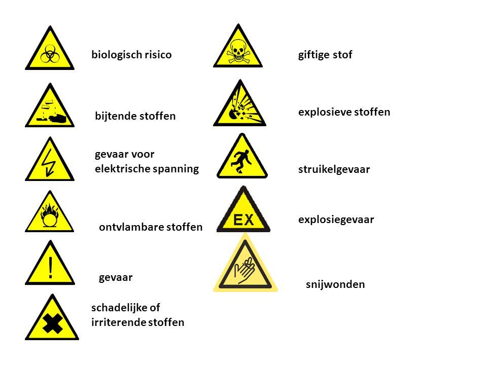 biologisch risico giftige stof. explosieve stoffen. bijtende stoffen. gevaar voor elektrische spanning.