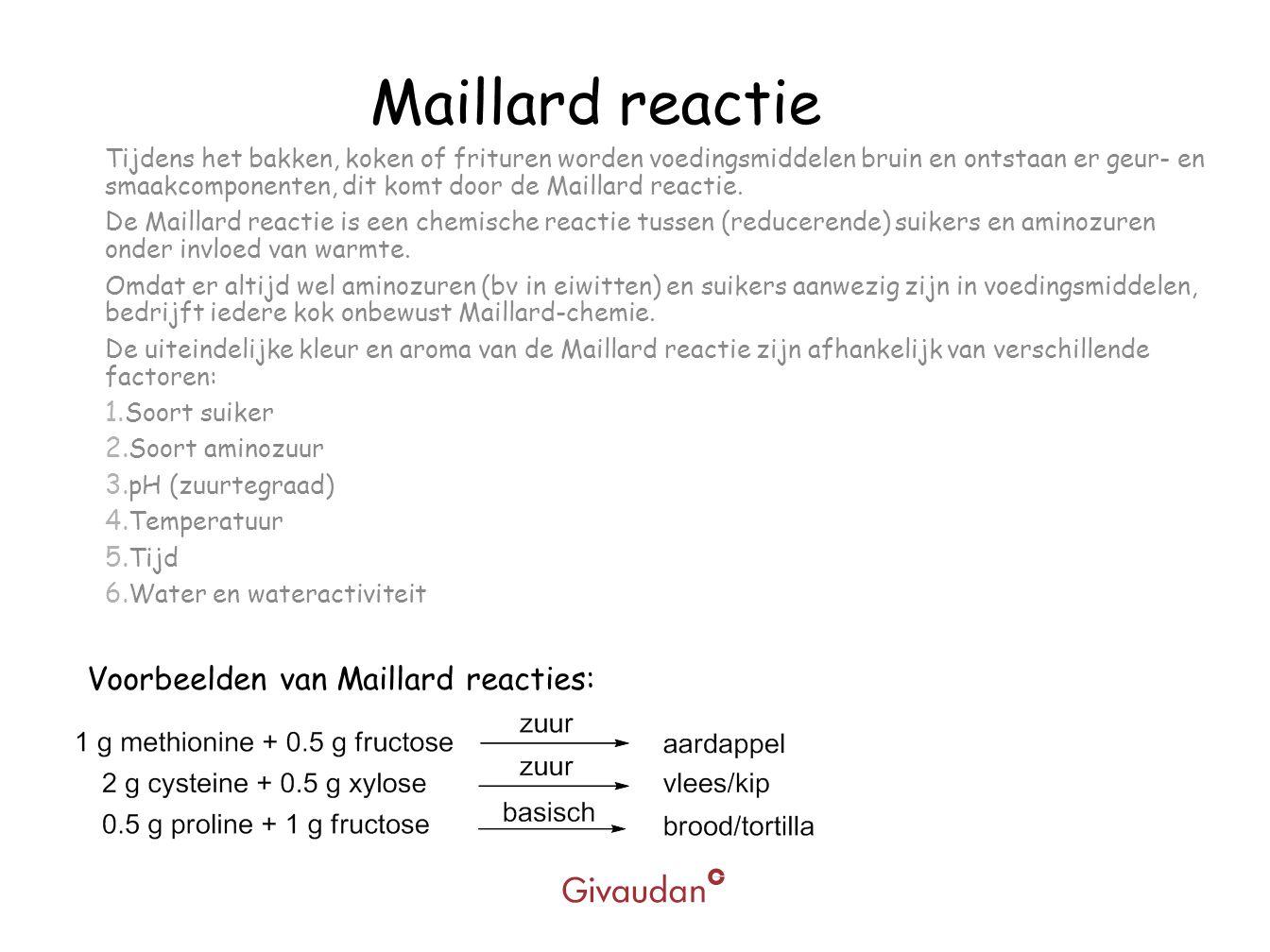 Maillard reactie Voorbeelden van Maillard reacties: