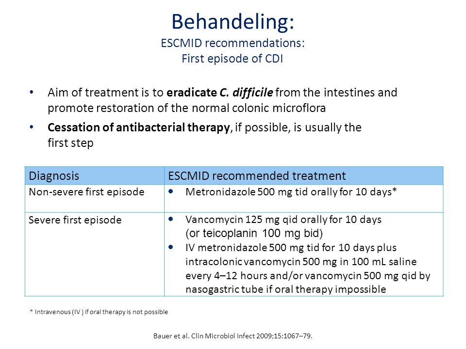 Behandeling: ESCMID recommendations: First episode of CDI