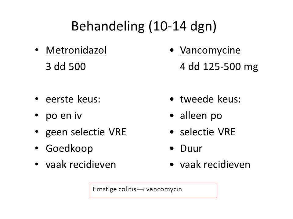 Behandeling (10-14 dgn) Metronidazol 3 dd 500 eerste keus: po en iv