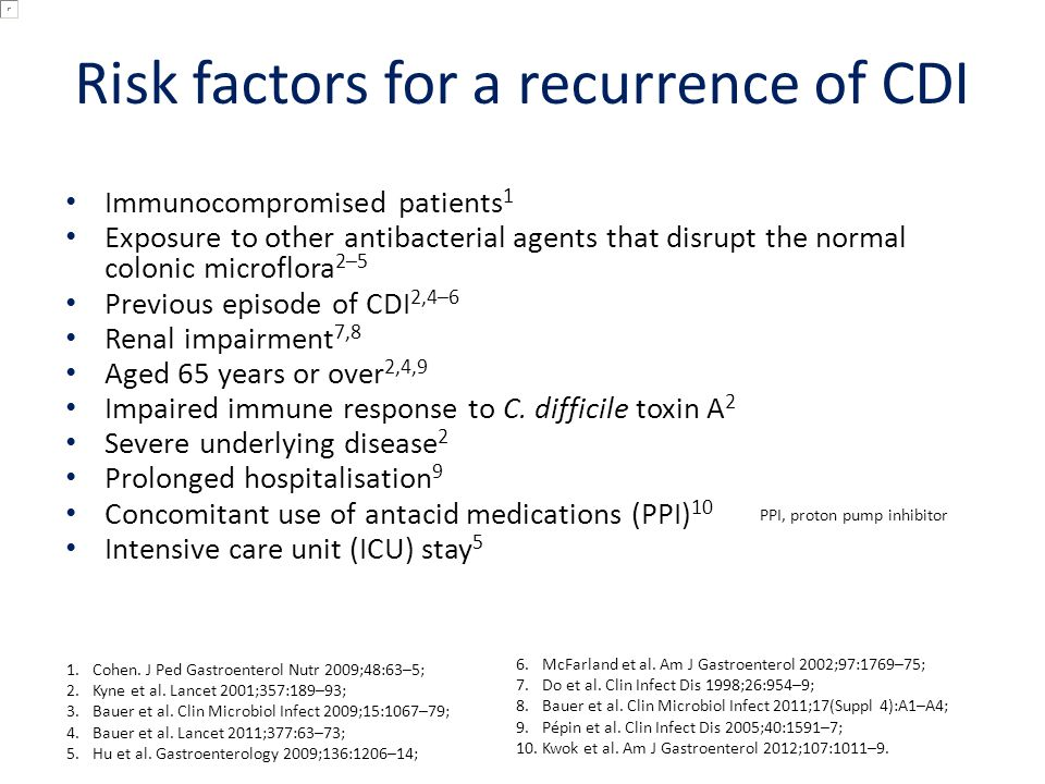 Risk factors for a recurrence of CDI