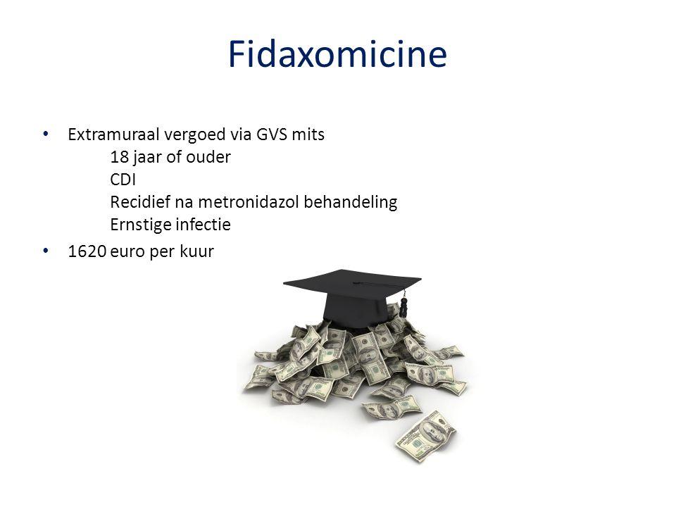 Fidaxomicine Extramuraal vergoed via GVS mits 18 jaar of ouder CDI Recidief na metronidazol behandeling Ernstige infectie.