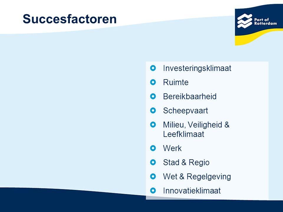 Succesfactoren Investeringsklimaat Ruimte Bereikbaarheid Scheepvaart