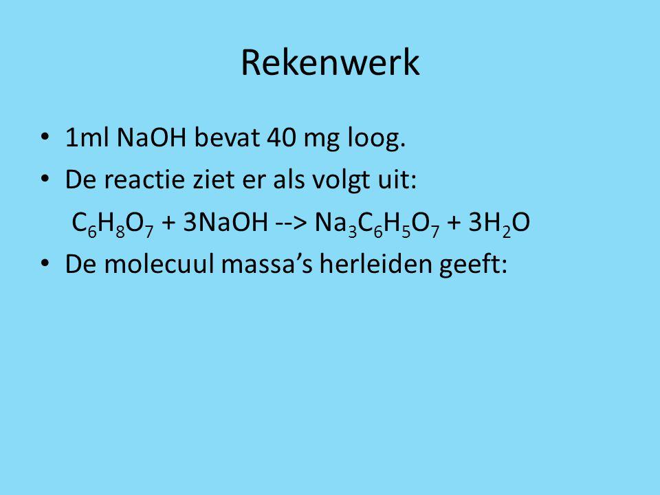 Rekenwerk 1ml NaOH bevat 40 mg loog. De reactie ziet er als volgt uit: