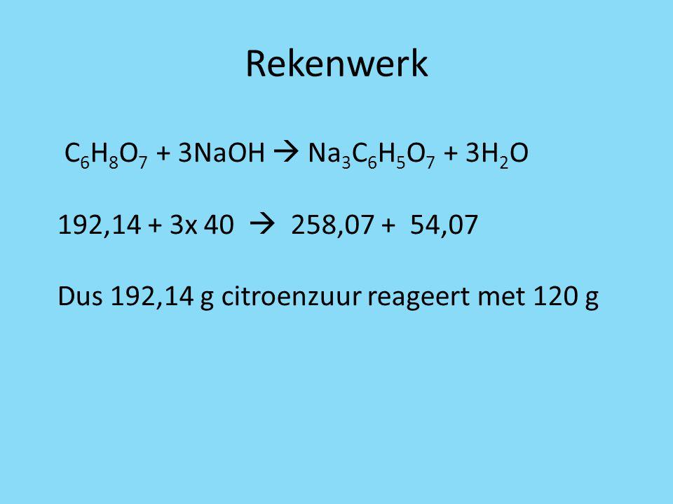 Rekenwerk C6H8O7 + 3NaOH  Na3C6H5O7 + 3H2O