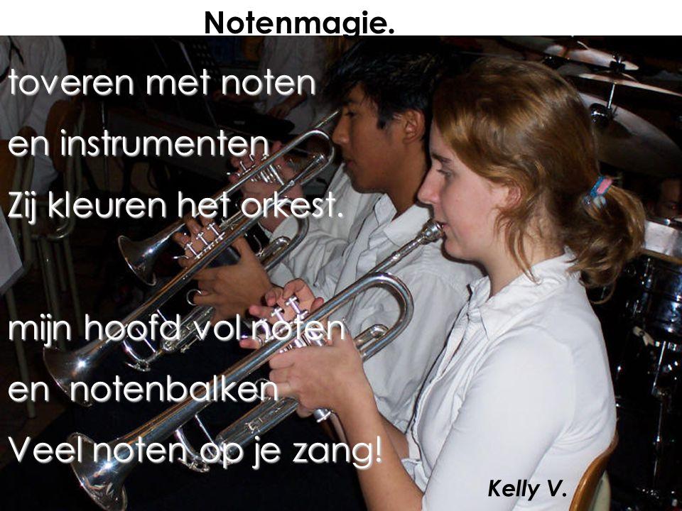toveren met noten en instrumenten Zij kleuren het orkest.
