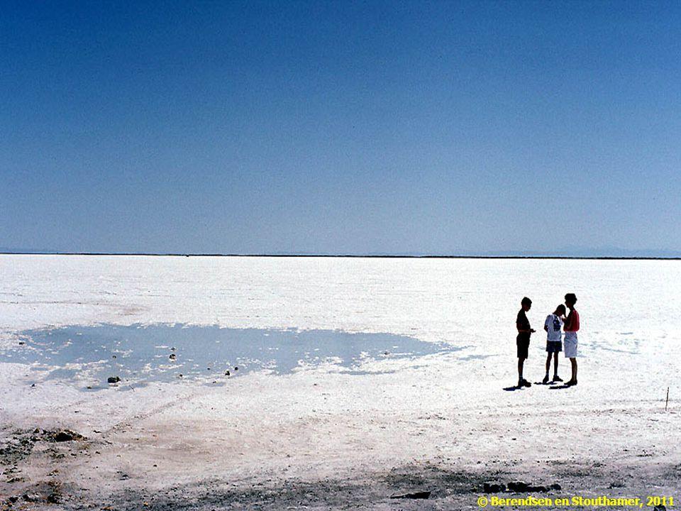 Hoge temperaturen en weinig neerslag leiden tot een sterke verdamping met als gevolg de vorming van zoutkorsten aan het oppervlak. Bonneville Salt Flats, Utah, USA. Foto: H.J.A. Berendsen