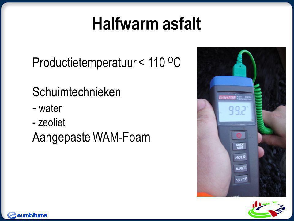 Halfwarm asfalt Productietemperatuur < 110 OC Schuimtechnieken