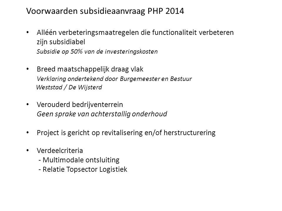 Voorwaarden subsidieaanvraag PHP 2014