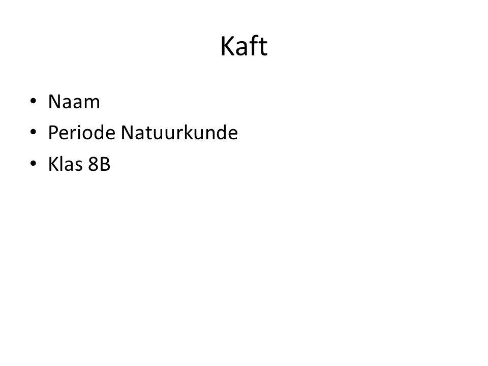 Kaft Naam Periode Natuurkunde Klas 8B