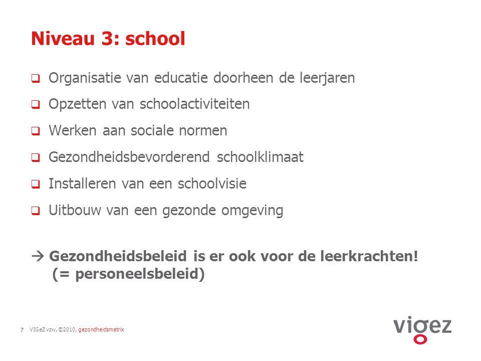 Niveau 3: school Organisatie van educatie doorheen de leerjaren