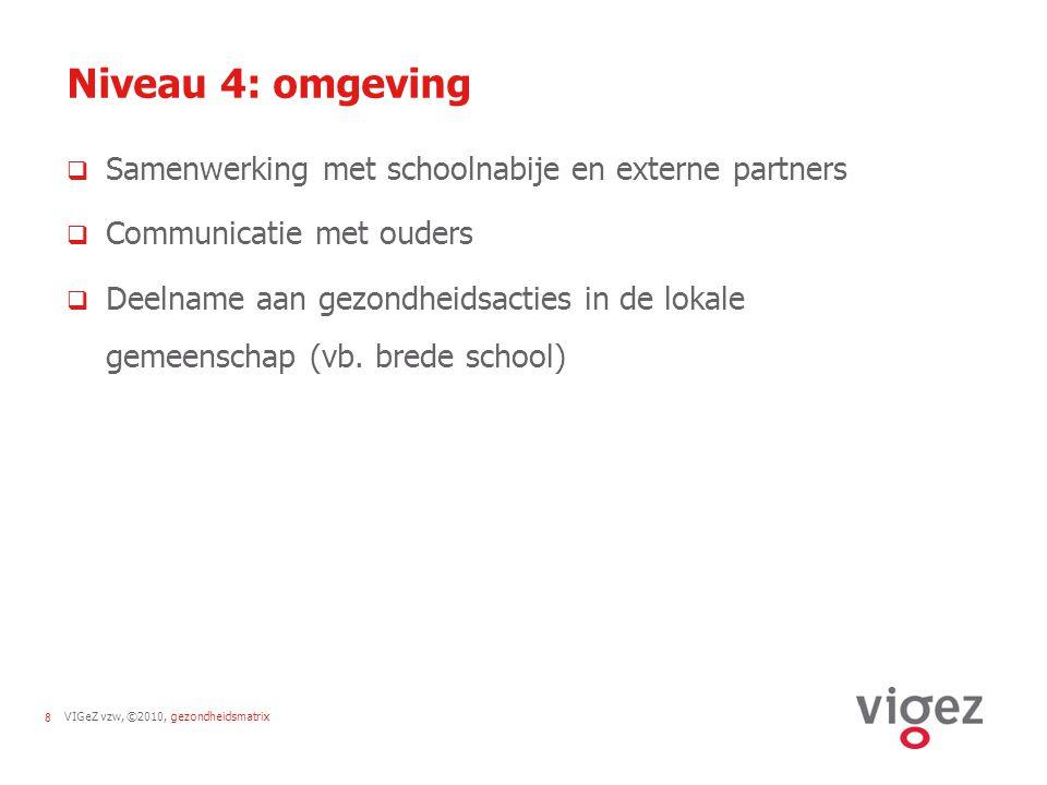 Niveau 4: omgeving Samenwerking met schoolnabije en externe partners