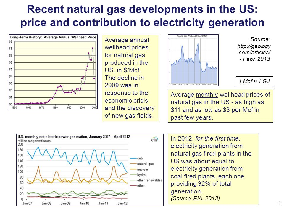Recent natural gas developments in the US: price and contribution to electricity generation