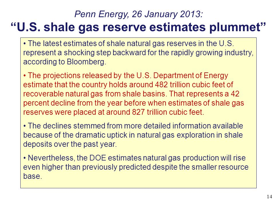 U.S. shale gas reserve estimates plummet