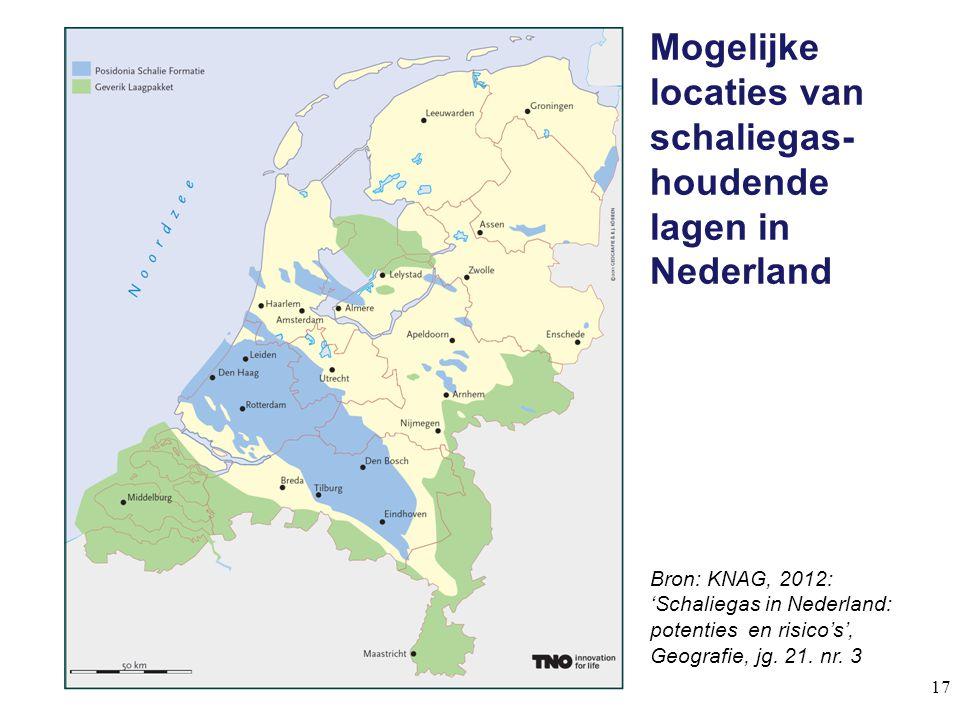 Mogelijke locaties van schaliegas-houdende lagen in Nederland