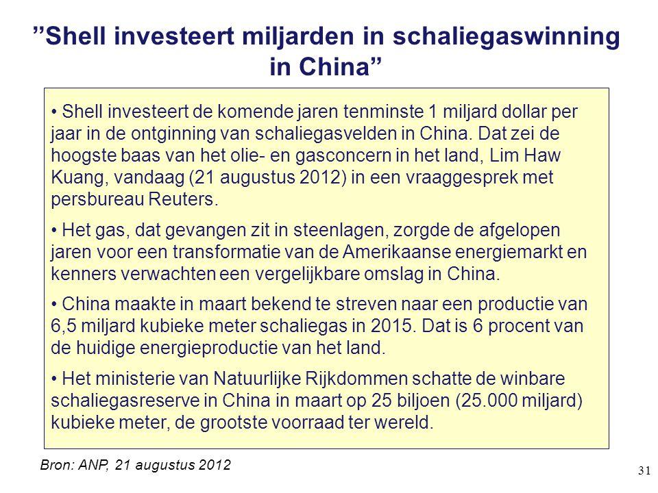 ''Shell investeert miljarden in schaliegaswinning