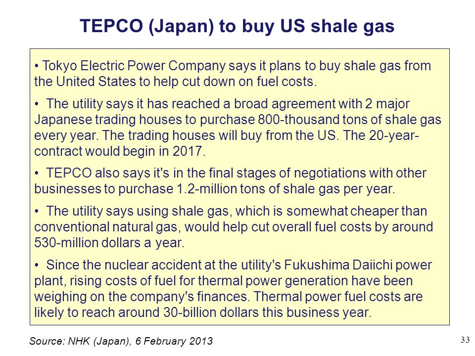 TEPCO (Japan) to buy US shale gas