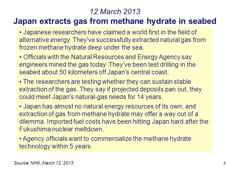 Japan extracts gas from methane hydrate in seabed