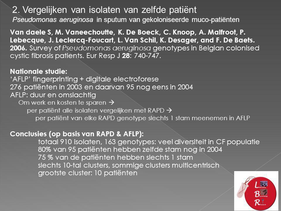 2. Vergelijken van isolaten van zelfde patiënt