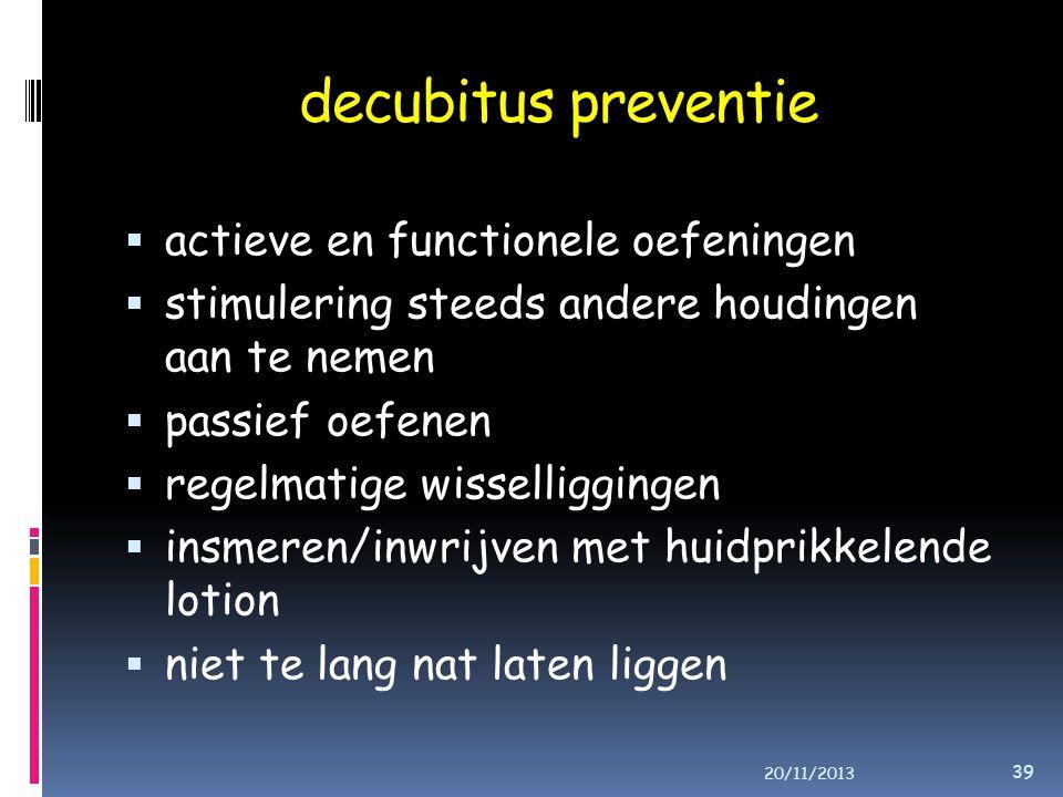 decubitus preventie actieve en functionele oefeningen