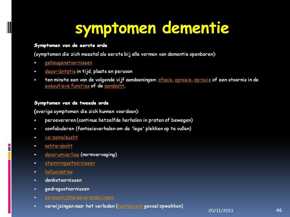 symptomen dementie Symptomen van de eerste orde