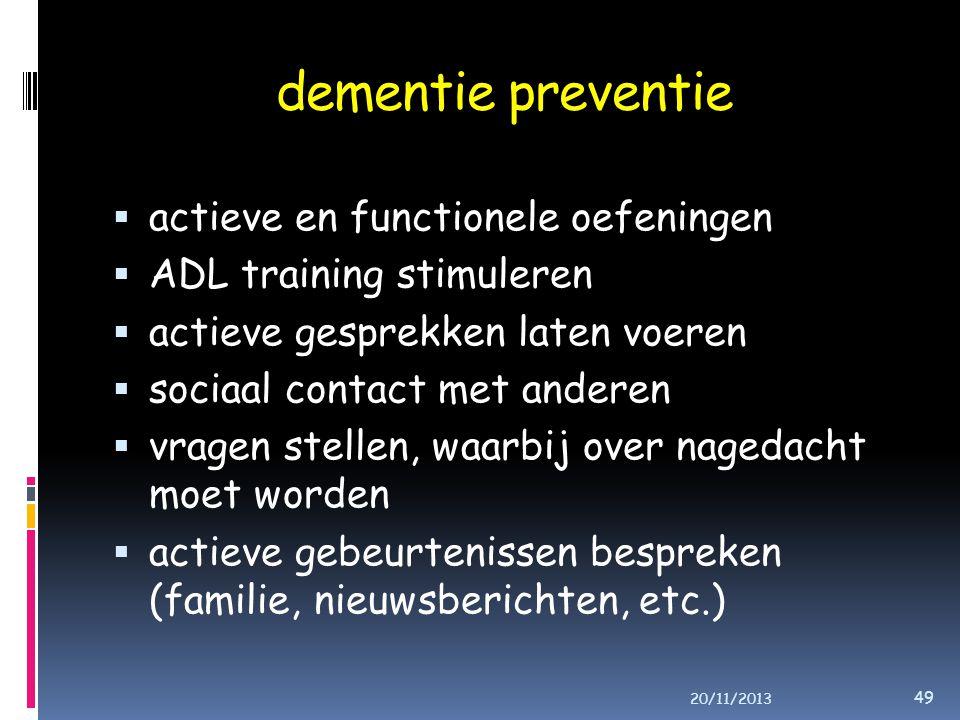 dementie preventie actieve en functionele oefeningen