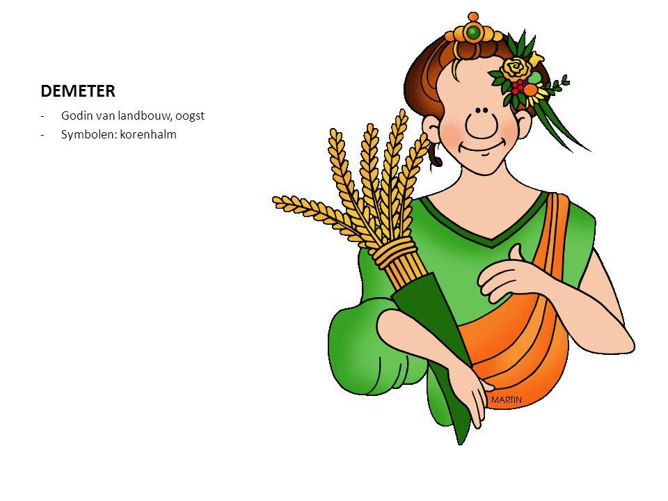 DEMETER Godin van landbouw, oogst Symbolen: korenhalm