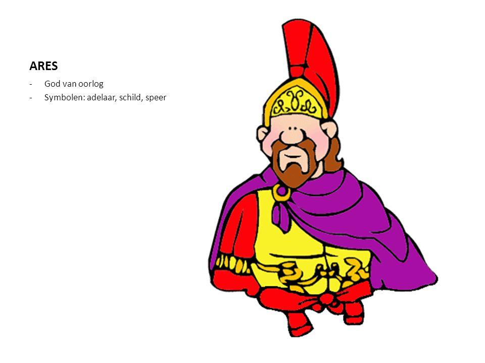 ARES God van oorlog Symbolen: adelaar, schild, speer