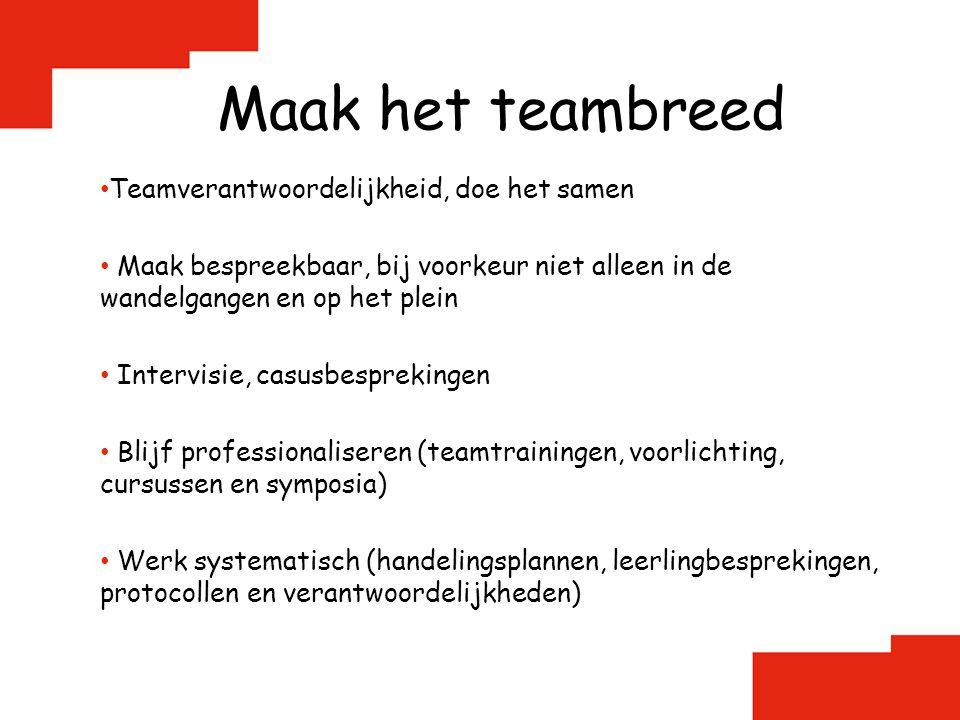 Maak het teambreed Teamverantwoordelijkheid, doe het samen