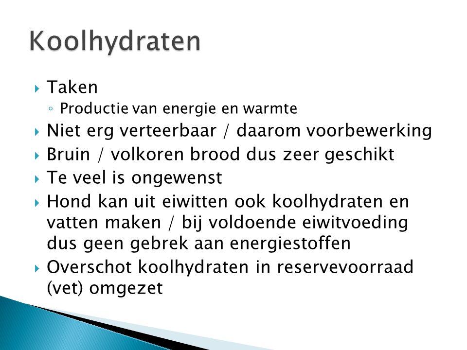 Koolhydraten Taken Niet erg verteerbaar / daarom voorbewerking