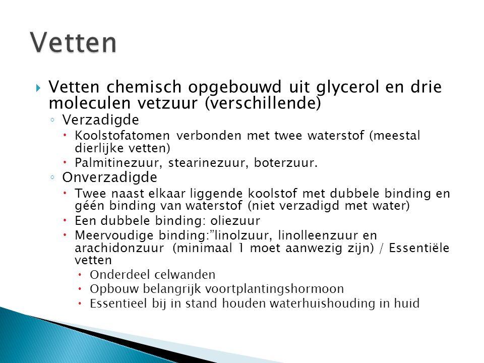 Vetten Vetten chemisch opgebouwd uit glycerol en drie moleculen vetzuur (verschillende) Verzadigde.
