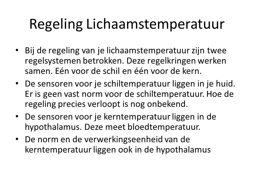 Regeling Lichaamstemperatuur