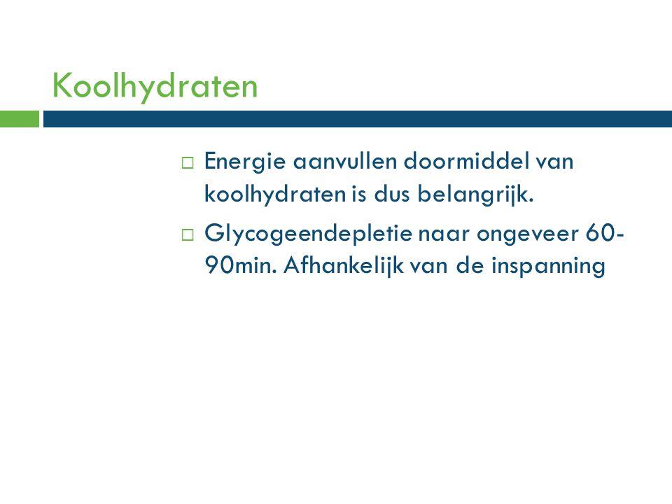 Koolhydraten Energie aanvullen doormiddel van koolhydraten is dus belangrijk.