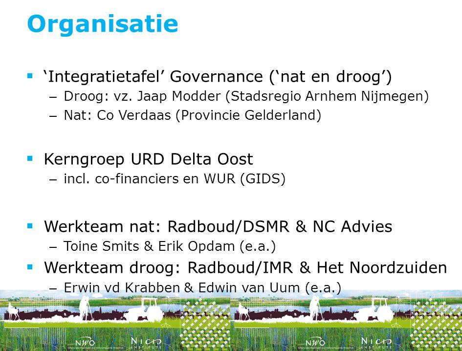 Organisatie 'Integratietafel' Governance ('nat en droog')