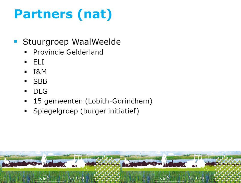 Partners (nat) Stuurgroep WaalWeelde Provincie Gelderland ELI I&M SBB