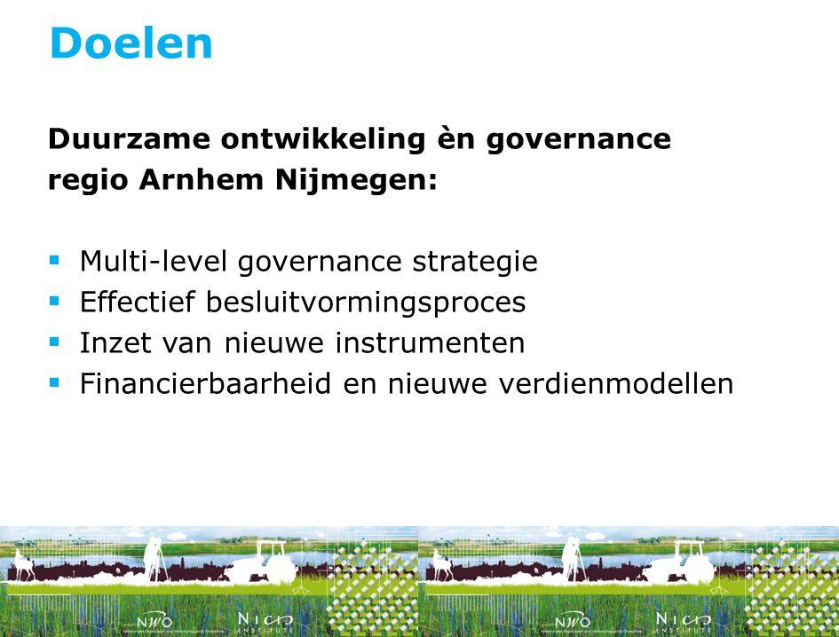 Doelen Duurzame ontwikkeling èn governance regio Arnhem Nijmegen: