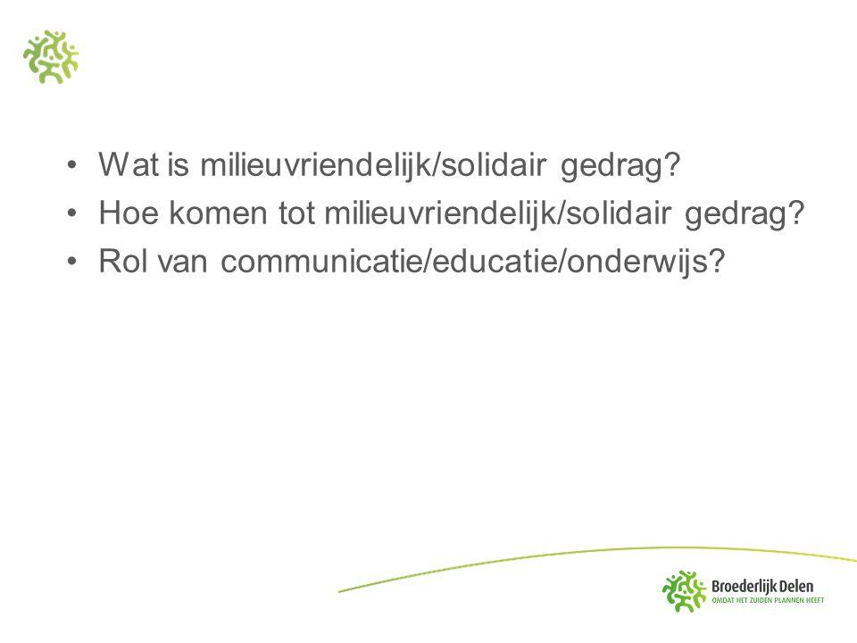 Wat is milieuvriendelijk/solidair gedrag