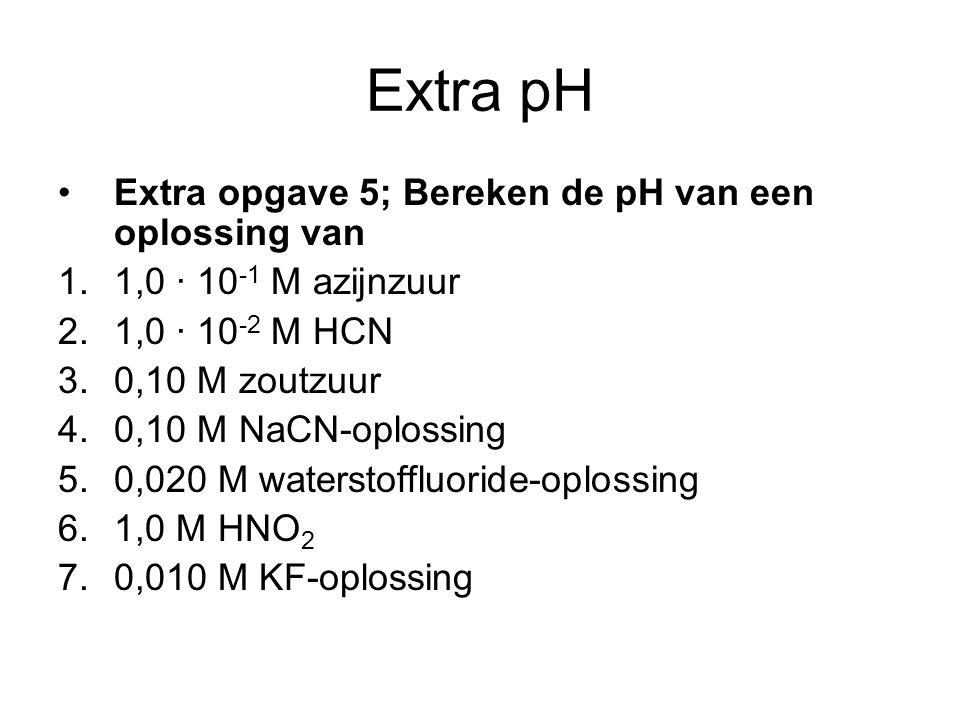 Extra pH Extra opgave 5; Bereken de pH van een oplossing van