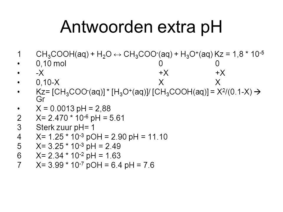 Antwoorden extra pH 1 CH3COOH(aq) + H2O ↔ CH3COO-(aq) + H3O+(aq) Kz = 1,8 * 10-5. 0,10 mol 0 0.