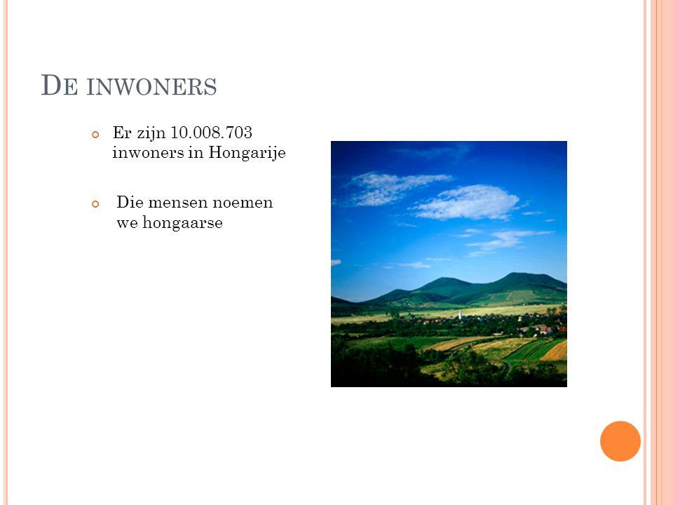 De inwoners Er zijn 10.008.703 inwoners in Hongarije
