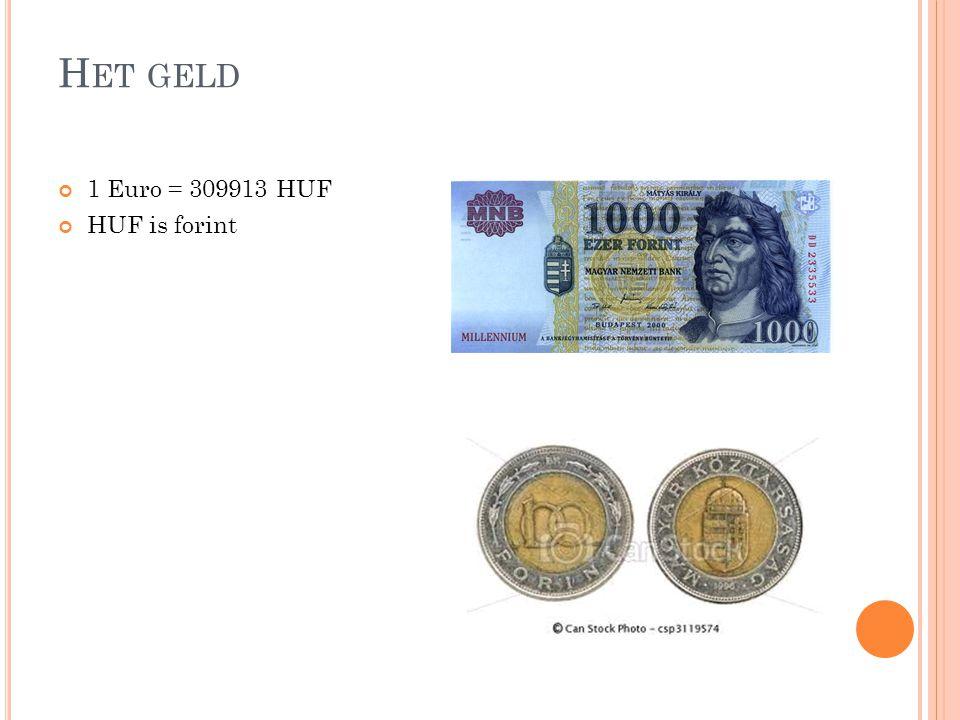 Het geld 1 Euro = 309913 HUF HUF is forint