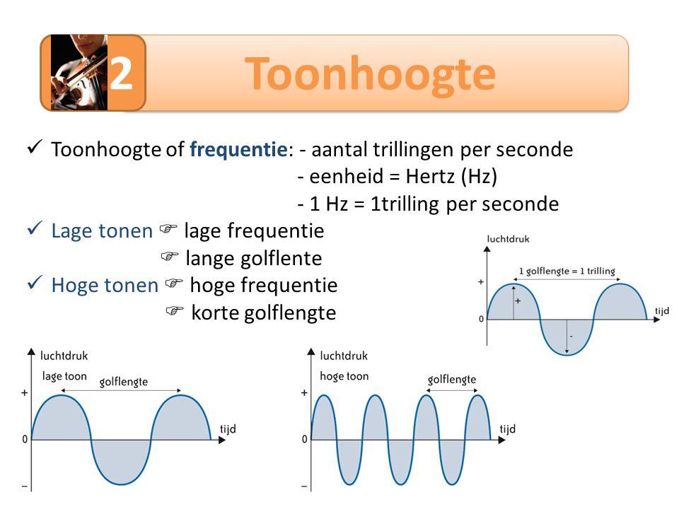 2 Toonhoogte Toonhoogte of frequentie: - aantal trillingen per seconde