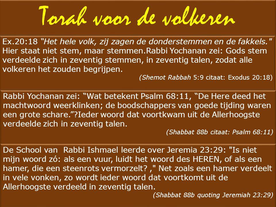 Torah voor de volkeren Ex.20:18 Het hele volk, zij zagen de donderstemmen en de fakkels.