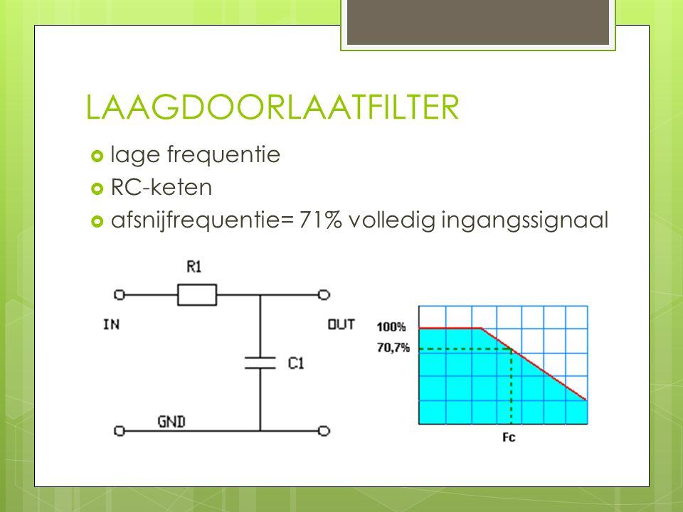 LAAGDOORLAATFILTER lage frequentie RC-keten