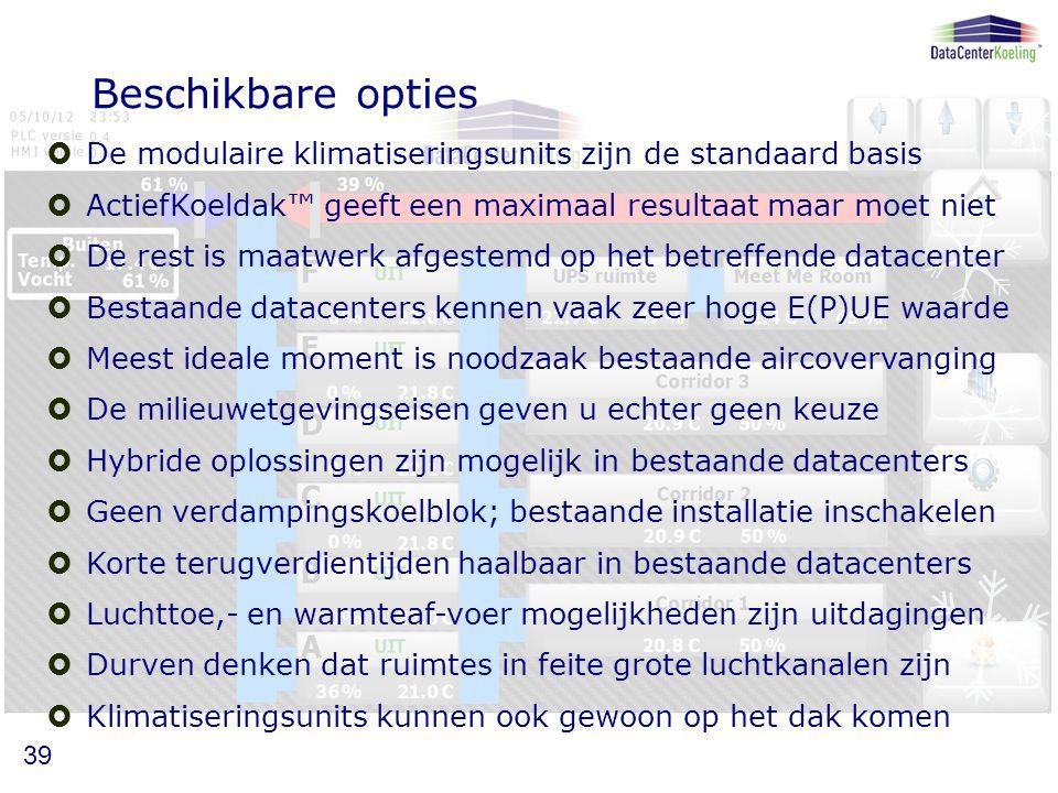 Beschikbare opties De modulaire klimatiseringsunits zijn de standaard basis. ActiefKoeldak™ geeft een maximaal resultaat maar moet niet.