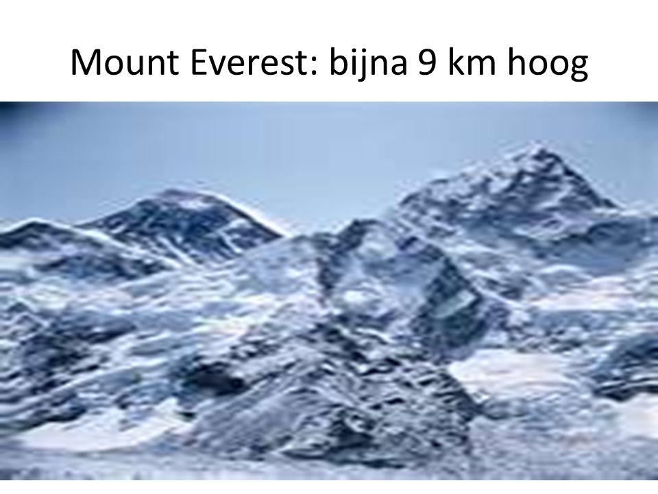 Mount Everest: bijna 9 km hoog