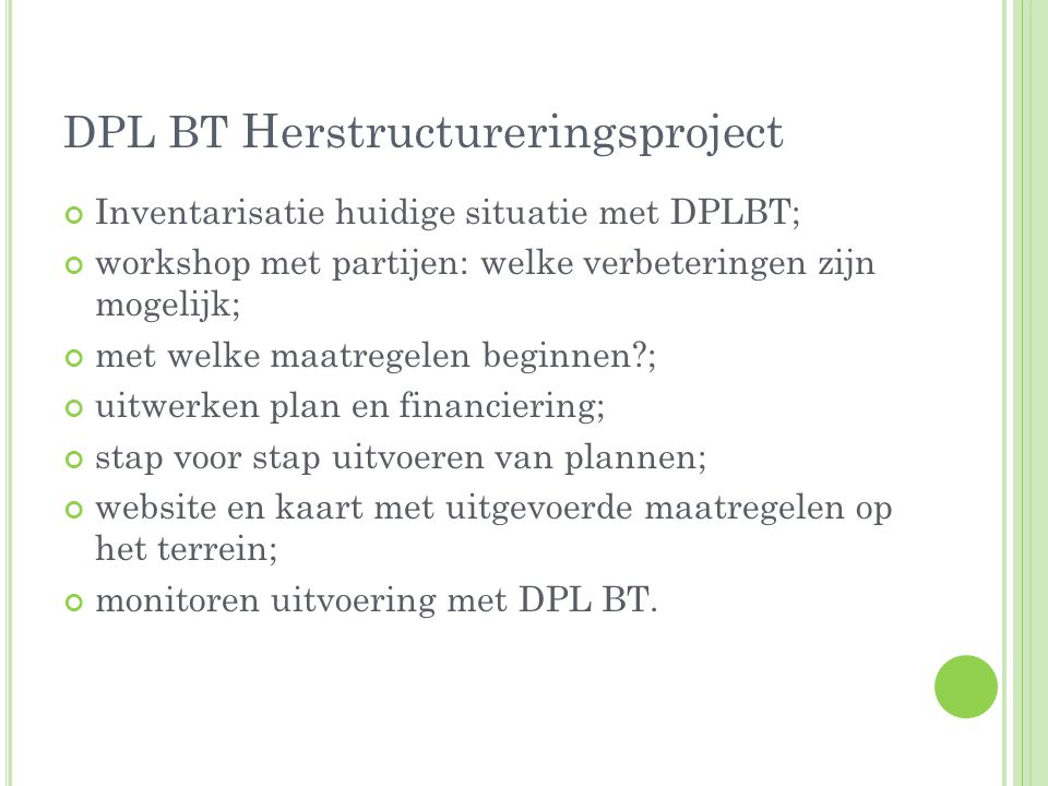 DPL BT Herstructureringsproject