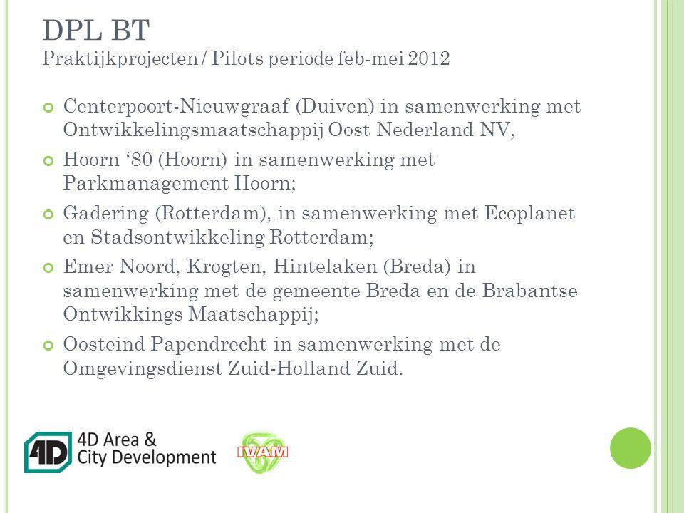 DPL BT Praktijkprojecten / Pilots periode feb-mei 2012