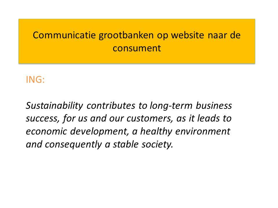 Communicatie grootbanken op website naar de consument