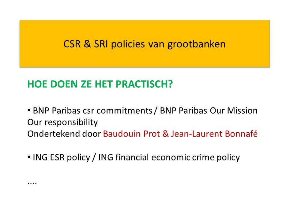 CSR & SRI policies van grootbanken